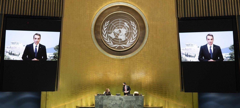 كيرياكوس ميتسوتاكيس، رئيس وزراء اليونان يلقي كلمة أمام المناقشة العامة للدورة الخامسة والسبعين للأمم المتحدة