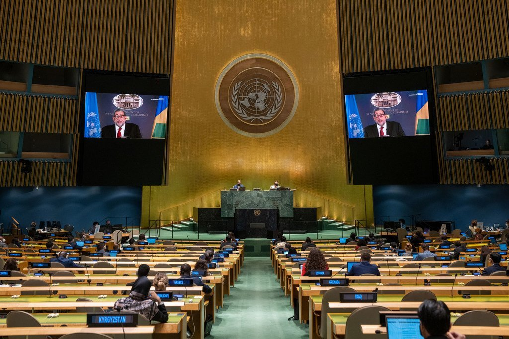 Prime Minister Ralph E. Gonsalves (on screens) of Saint Vincent and the Grenadines addresses the general debate of the UN General Assembly's 76th session.