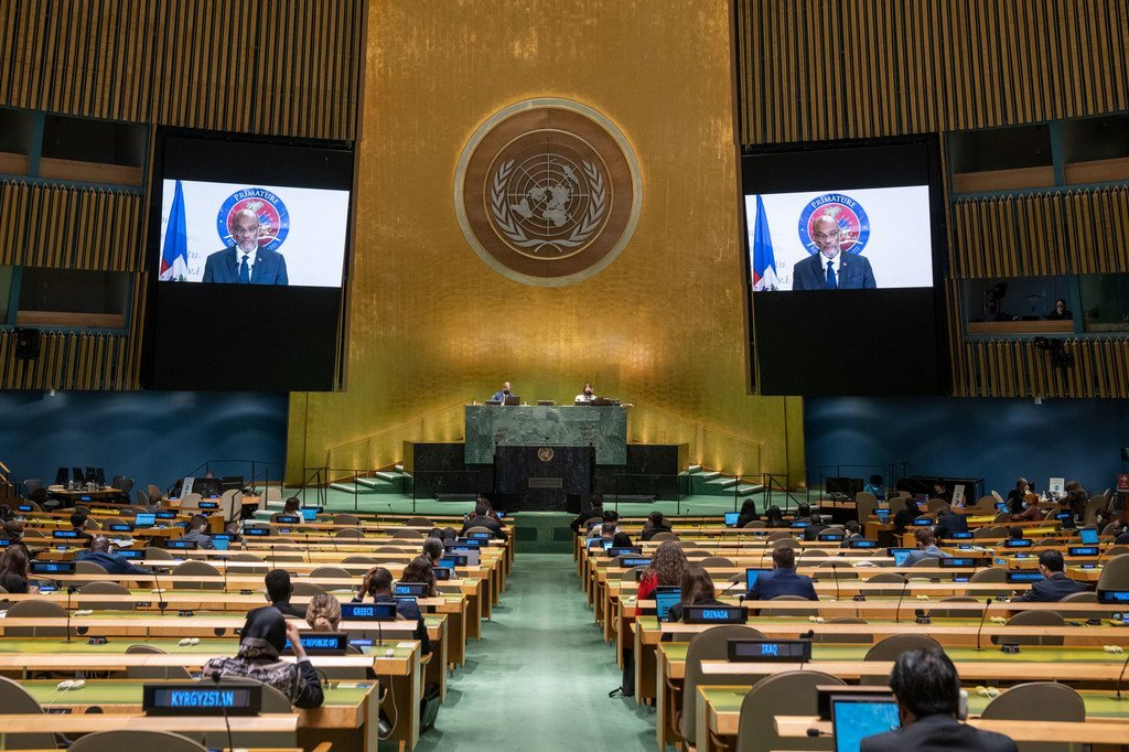 Prime Minister Ariel Henry of Haïti addresses the general debate of the UN General Assembly's 76th session.