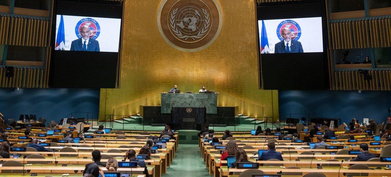 Le Premier ministre Ariel Henry d'Haïti prend la parole lors du débat général de la 76e session de l'Assemblée générale des Nations Unies.