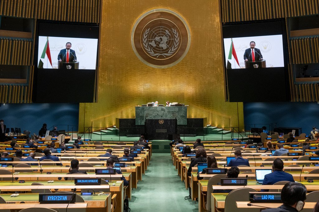 Prime Minister Abdalla Adam Hamdok (on screens) of the Sudan addresses the general debate of the UN General Assembly's 76th session.