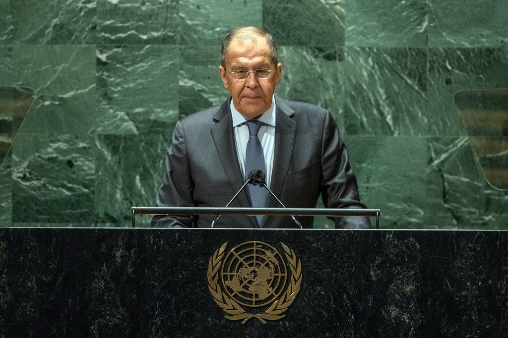 Sergey V. Lavrov, Minister for Foreign Affairs of the Russian Federation, addresses the general debate of the UN General Assembly's 76th session.