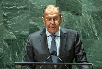 Sergey V. Lavrov, ministre des Affaires étrangères de la Fédération de Russie, prend la parole lors du débat général de la 76e session de l'Assemblée générale des Nations Unies.