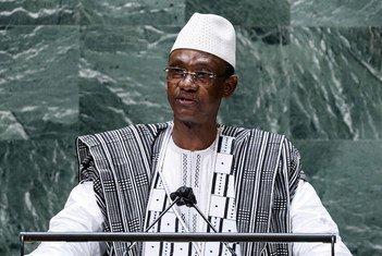 Le Premier ministre de la République du Mali, Choguel Kokalla Maïga, prend la parole lors du débat général de la 76e session de l'Assemblée générale des Nations Unies.