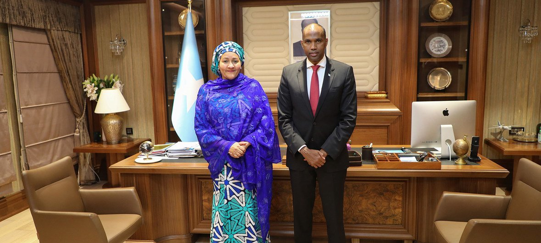The UN Deputy Secretary-General Amina Mohammed  (left) meets the Prime Minister of Somalia, Hassan Ali Khayre in Mogadishu.