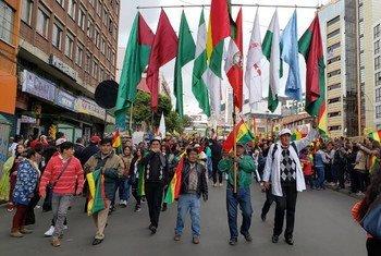 Protestos nas ruas de La Paz, na Bolívia, em outubro de 2019.