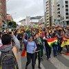 Demonstrators protest on the streets of La Paz, Bolivia.