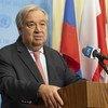 Le Secrétaire général des Nations Unies, António Guterres, s'adresse aux médias au Siège de l'ONU à New York.