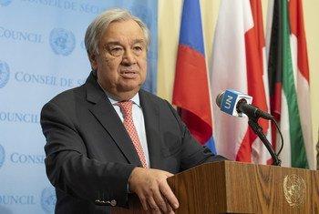 [ARCHIVO] El Secretario General António Guterres habla ante la prensa en la sede de la ONU en Nueva York.