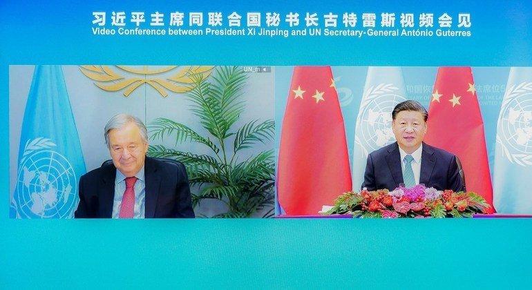 国家主席习近平在北京人民大会堂以视频方式会见联合国秘书长古特雷斯。
