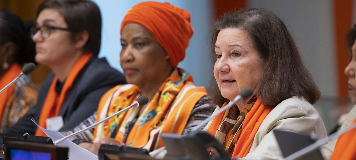 """Maria Luiza Ribeiro Viotti, Chef de Cabinet to Secretary-General António Guterres, speaks at the official commemoration of the UN International Day for the Elimination of Violence Against Women. At left is Ajna Jusic, President of the Association """"Forgotten Children of War"""", Bosnia and Herzegovina, and in the centre is Phumzile Mlambo-Ngcuka, Executive Director of UN Women."""