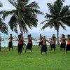 A group of men in Samoa take part in activities to mark the International Day for the Elimination of Violence Against Women.