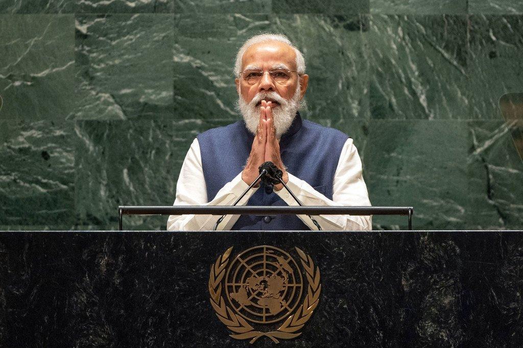 Waziri Mkuu wa India Narendra Modi akihutubia mjadala wa Baraza Kuu wa UN UNGA76
