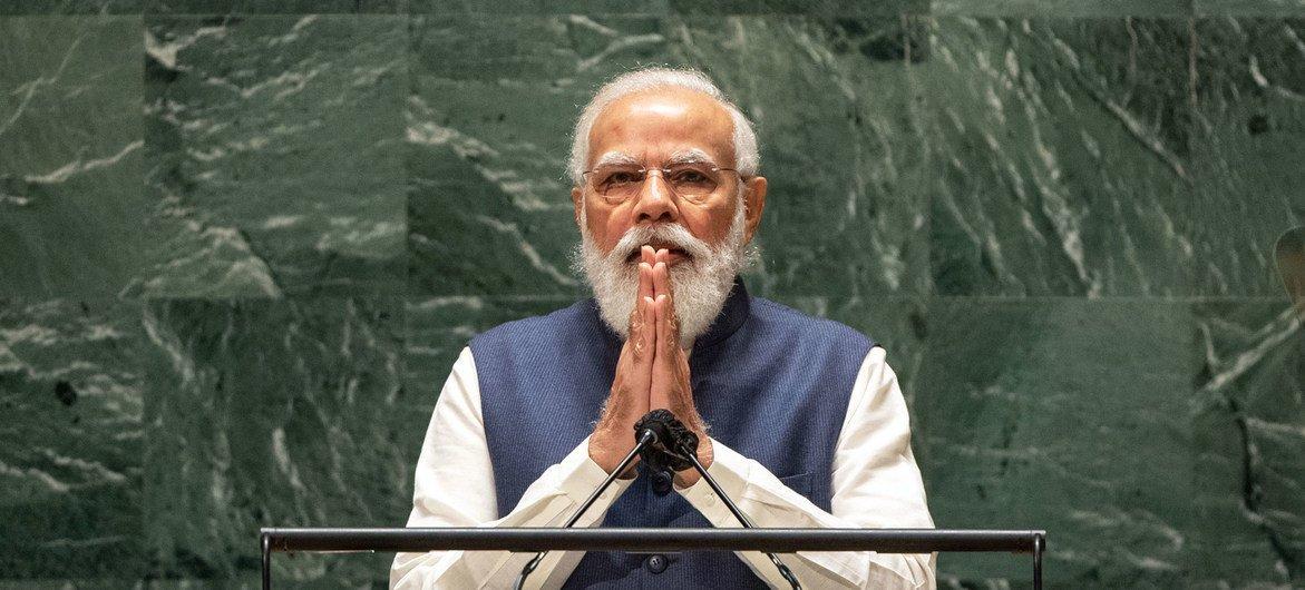 भारत के प्रधानमंत्री नरेन्द्र मोदी, यूएन महासभा के 76वें सत्र में, जनरल डिबेट को सम्बोधित करते हुए. (25 सितम्बर 2021)