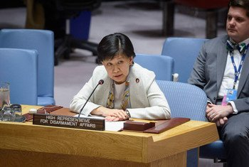 Izumi Nakamitsu, Haut-Représentante des Nations Unies pour les affaires de désarmement, devant le Conseil de sécurité.