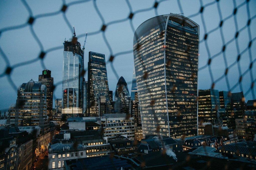 La City de Londres, centre financier de la capitale du Royaume-Uni qui n'est plus membre de l'Union européenne (UE) depuis le 1er février 2020
