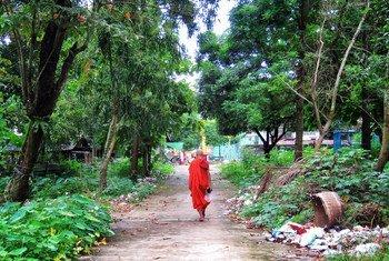 A monk walks toward a pagoda temple near Yangon, Myanmar.