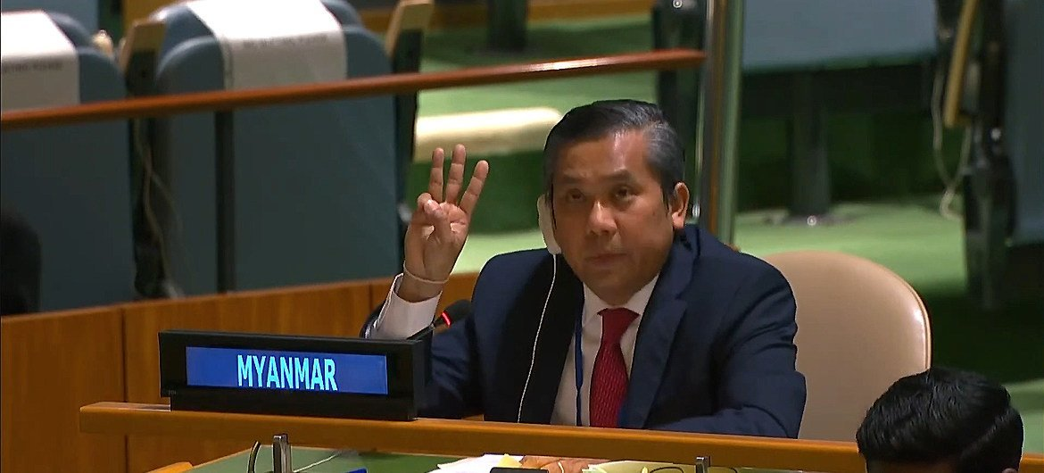 Permanent Representative of Myanmar to the UN, Ambassador Kyaw Moe Tun ended his General Assembly address on Friday denouncing the 1 February coup, with a three-fingered salute used by protesters.