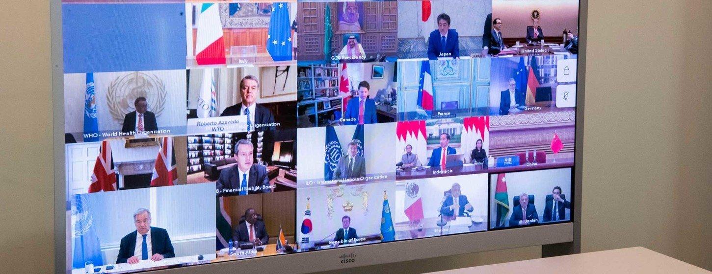 Líderes das maiores economias do mundo em encontro do G-20 em 2020