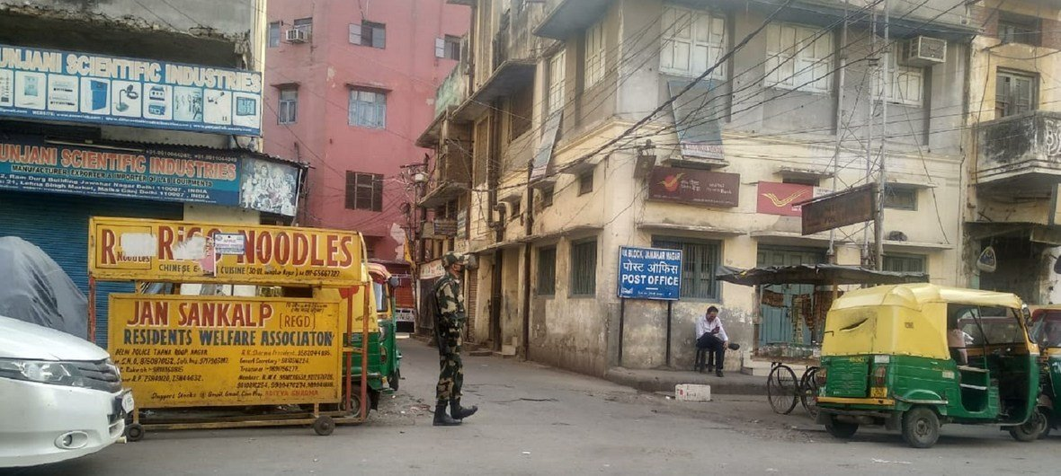 The police presence has been stepped up in old Delhi, India after the  government announced a nationwide lockdown for 21 days to stem the spread of COVID-19.