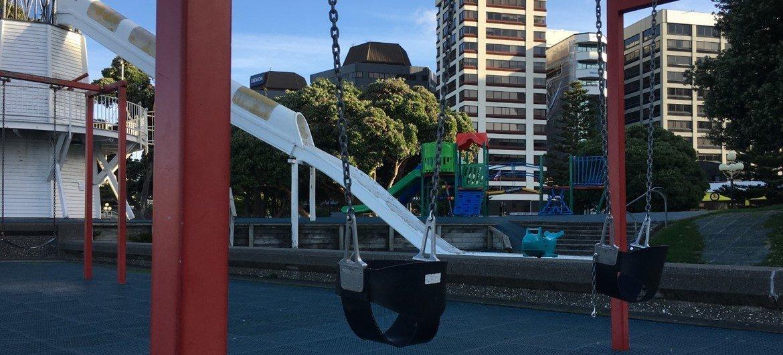 2019冠状病毒病大流行期间,新西兰惠灵顿无人光顾的儿童游乐场。