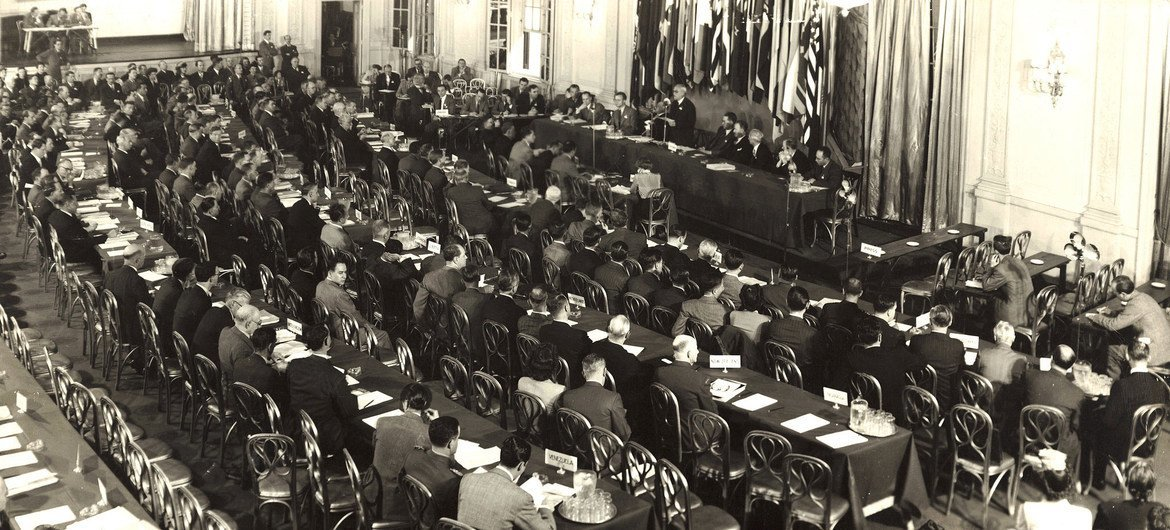 Diplomats meet in Chicago in 1944, where they drafted the Convention on International Civil Aviation