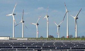 Les parcs éoliens et les panneaux solaires produisent de l'électricité et réduisent la dépendance à l'énergie alimentée au charbon.