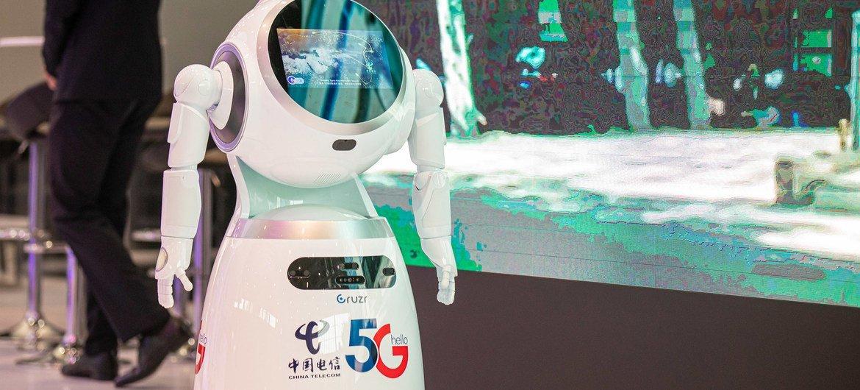 5G-enabled robot by China Telecom on display during ITU Telecom World 2019.