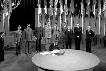 सैन फ्रांसिस्को सम्मेलन, 25 अप्रैल - 26 जून 1945: भारत ने संयुक्त राष्ट्र चार्टर पर हस्ताक्षर किए.