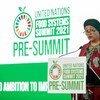 Amina Mohammed, Vice-secrétaire générale des Nations Unies, s'adresse aux participants de la réunion préparatoire du Sommet des Nations Unies sur le système alimentaire 2021 à Rome, en Italie.