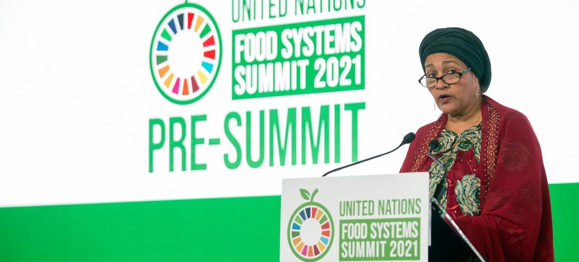 Amina Mohammed, UN Deputy Secretary-General, addresses the Pre-Summit of the United Nations Food System Summit 2021 successful  Rome, Italy.
