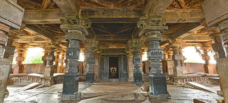 Mandapa inside India's Ramappa Temple.