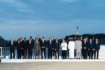 Líderes das sete maiores economias mundiais em Biarritz, na França, durante a reunião de 2019 do G7.
