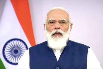 Премьер-министр Индии Нарендра Моди выступает на 75-й сессии ГА