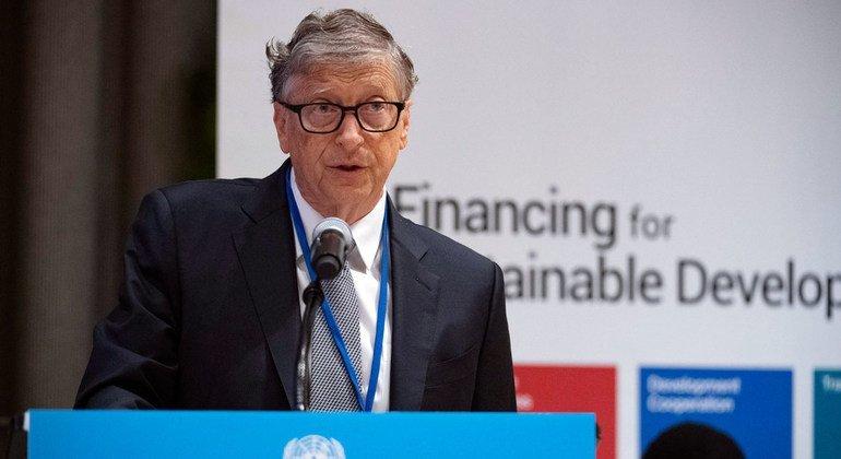 بيل غيتس، الرئيس المشارك لمؤسسة بيل وميليندا غيتس، يخاطب قمة الحوار رفيع المستوى حول تمويل التنمية التي عقدت في مقر الأمم المتحدة في نيويورك. (26 أيلول/سبتمبر 2019)