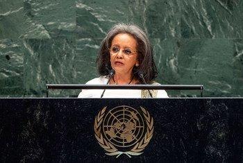2019年9月26日,埃塞俄比亚女总统萨赫勒-沃克·祖德在联大一般性辩论上发言。
