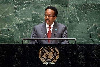 الرئيس الصومالي محمد عبدالله فرماجو خلال مخاطبنه مداولات الجنعية العامة للأمم المتحدة، 26 سبتمبر 2019.