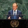 Donald Tusk, Président du Conseil européen, prononce un discours lors de la 74e session du débat général de l'Assemblée générale des Nations Unies. (26 septembre 2019)