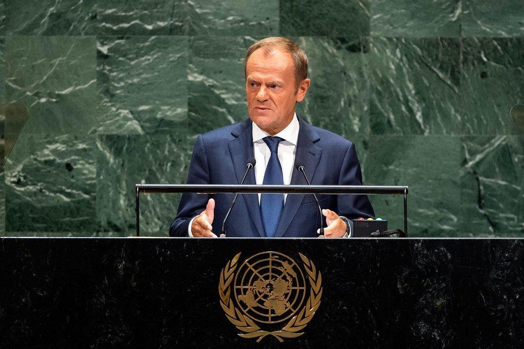 欧洲联盟欧洲理事会主席图斯克在联合国大会第73届会议一般性辩论上发言。