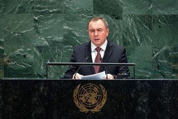 Министр иностранных дел Беларуси Владимир Макей выступает на 74-й сессии Генеральной Ассамблеи ООН