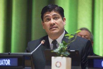 Carlos Alvarado Quesada, presidente de Costa Rica, participa en un evento de la sede de las Naciones Unidas en Nueva York.