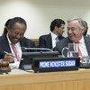 الأمين العام أنطونيو غوتيريس إلى جانب رئيس وزراء السودان الدكتور عبد الله حمدوك  في الاجتماع الرفيع المستوى بشأن السودان (الأمم المتحدة - نيويورك - 27/09/2019)