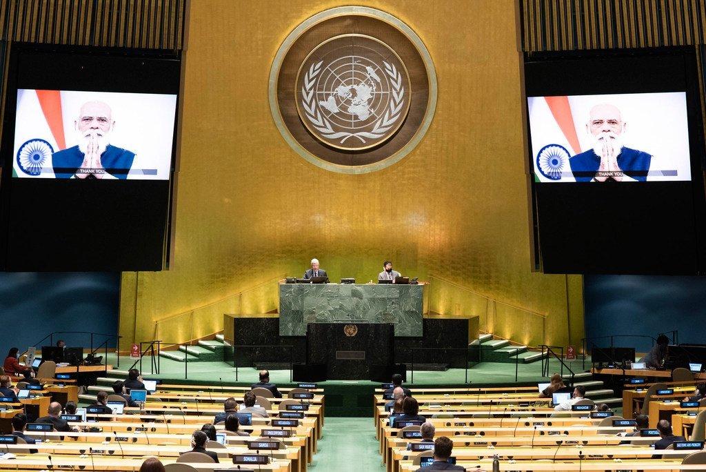 भारत के प्रधानमन्त्री नरेन्द्र मोदी ने यूएन महासभा के 75वें सत्र को सम्बोधित करते हुए इस विश्व संगठन के ढाँचे में सुधार का आहवान किया. (26 सितम्बर 2020)