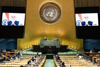 Prime Minister Narendra Modi (on screen) of India addresses the general debate of the General Assembly's seventy-fifth session.