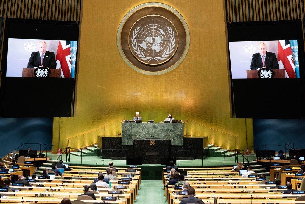 El primer ministro del Reino Unido, Boris Johnson, durante si intervención en la Asamblea General 2020.