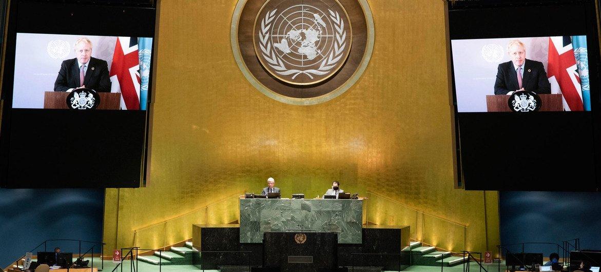 بوريس جونسون رئيس وزراء المملكة المتحدة أمام المناقشة العامة للدورة الخامسة والسبعين للأمم المتحدة