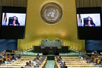 Prime Minister Abdalla Adam Hamdok (on screen) of the Republic of the Sudan addresses the general debate of the General Assembly's seventy-fifth session.