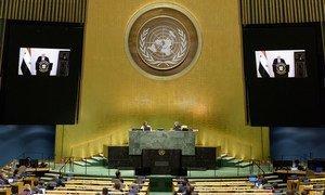 叙利亚副总理穆阿利姆(Walid Al-Moualem)在联合国大会第七十五届会议的一般性辩论中通过视频发言。