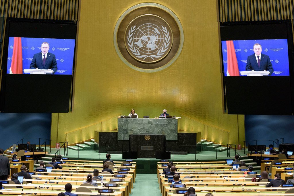Foreign Minister Vladimir Makei (on screen) of Belarus addresses the general debate of the General Assembly's seventy-fifth session.