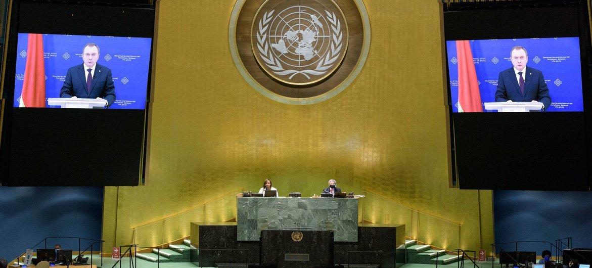 Министр иностранных дел Беларуси Владимир Макей обращается к участникам 75-й сессии Генеральной Ассамблеи ООН